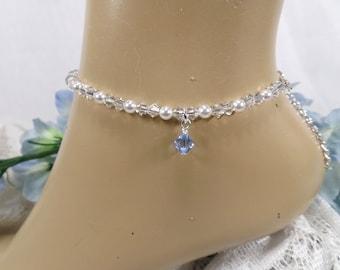 Something Blue Anklet Bridal Anklet  Pearl Crystal Ankle Bracelet Something Blue For Bride Bridal Gift  Wedding