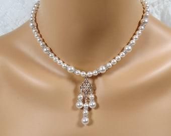 Pearl Bridal Necklace Swarovski White Pearl Bridal Necklace Wedding Jewelry Swarovski Pearl Earrings Bridal Necklace Bridal Earrings