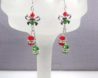 Christmas Earrings Red and Green Earrings Crystal Ornament Earrings Swarovski Ornament Earrings Holiday Earrings Secret Santa Gift
