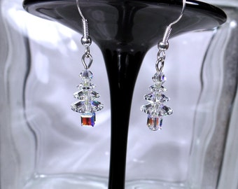 Swarovski Crystal Clear AB Christmas Tree Earrings - Gift- Holiday