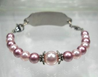 Medical ID Bracelet Interchangeable Bracelet Replacement Bracelet Watch Bracelet Pink Pearl Med ID