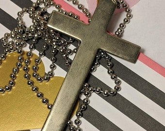 Big Sale Huge Vintage Plain Silver Cross Pendant Necklace Long Steel Chain Goth Gothic Statement Jewelry
