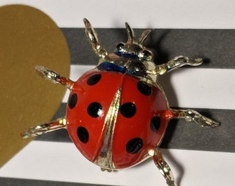 Big Sale Mid Century Vintage Gold Red Black Ladybug Lady Bug Insect Brooch Pin Retro Rockabilly Pin Up Jewelry