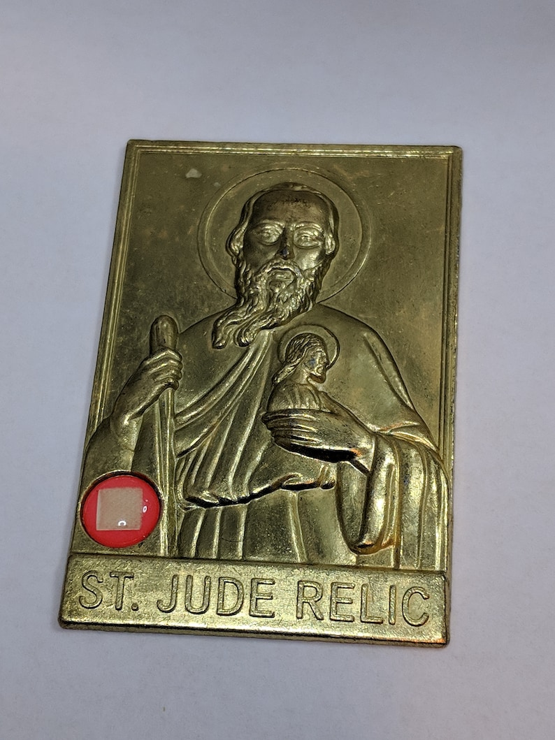 Vintage St Jude Metal Plaque Oratory Devotion With Relic Patron Saint of  Desperate and Lost Causes