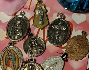 Big Sale Lot of Vintage Religious Medal Pendants Our Lady of Guadalupe Saint Jude St Thomas Aquinas Virgin Mary Jewelry Pendants
