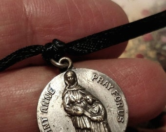 Big Sale Vintage Silver Plated St Saint Anne Ann Religious Medal Pendant Charm Petite from Rosary Shrine of St Jude Detroit