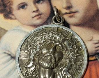 Big Sale Vintage Passion of Christ Crown of Thorns and Tears Solid Sterling Silver Theda Religious Medal Pendant Engraved on Reverse