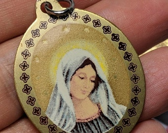 Big Sale Large Polychrome Metal Vintage Our Lady of Medugorje Religious Medal Pendant