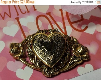 Big Sale Steampunk Vintage Heart Locket Gold Tone Fancy Filigree Brooch Pin Neo Victorian Edwardian Inspired Secret Compartment
