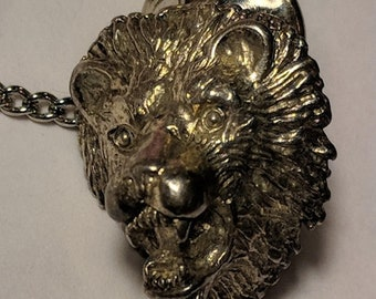 Big Sale Vintage Retro Silver Tone Lion Head Silver Tone Brooch Tie Tack Lapel Pin