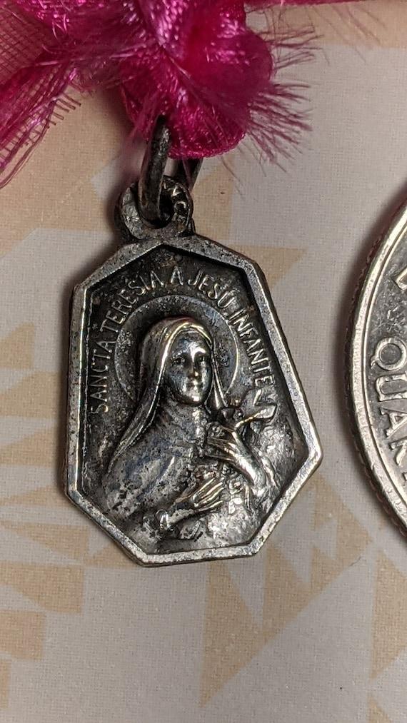 Vintage Santa S Maria Regina Apostolorum Large Silver Tone Religious Medal Pendant Aluminum Worn Rustic
