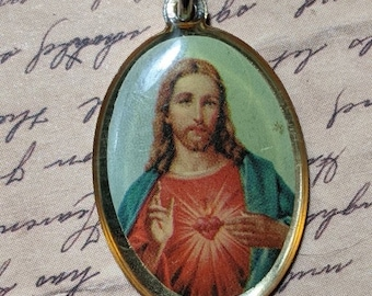 Handmade Assemblage Upcycled Vintage Sacred Heart of Jesus Religious Necklace