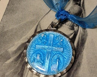 Big Sale Vintage Sterling Silver Blue Enamel Four Way Cross Scapular Religious Medal Pendant Virgin Mary Jesus Saints