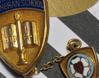 Big Sale Vintage Dated 1961 St Saint John Lutheran School Gold Filled Shield Enamel Pin Brooch