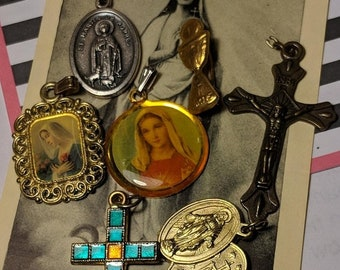 Big Sale Lot of Vintage Picture Pendant Religious Medals Crosses and More Destash Jewelry Gothic