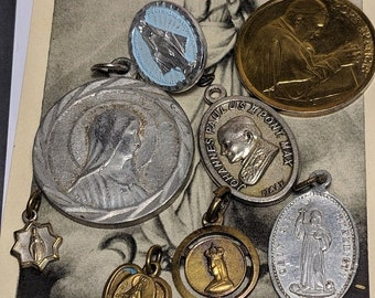 Big Sale Lot of Vintage Religious Medals Pope Virgin Mary Pin Saint St Benedict Jewelry One Pin