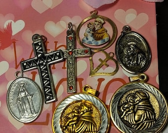 Big Sale Lot of Vintage Religious Medal Pendants Cross Saint Anthony Costume Jewelry