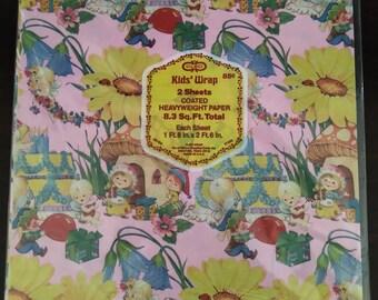 Vintage Birthday Gift Wrap - Original Packaging - Unopened - Dead Stock - 1980s -Pink Fairies