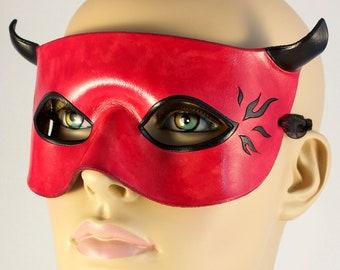 Red Devil leather mask masquerade costume horns handmade black hot rod flames Halloween larp Carnival Mardi Gras