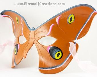 Handmade leather Moth mask, masquerade costume for Mardi Gras, Halloween, LARP, lepidoptery, Antheraea Polyphemus