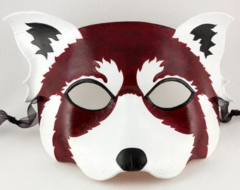 Red Panda handmade leather mask Firefox Halloween costume masquerade larp Mardi Gras Carnival