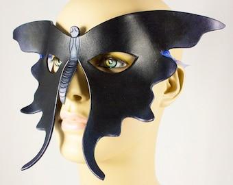 Blue Black Butterfly handmade leather masquerade mask for Halloween costume, Mardi Gras, masquerade wedding, LARP, lepidopterists