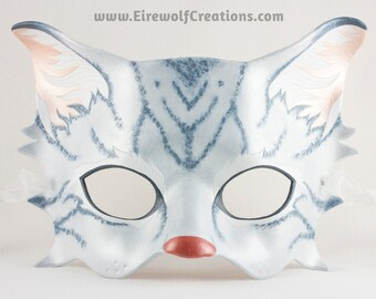 Tabby Cat masquerade mask, handmade leather gray kitty costume for Halloween, theater, cosplay, Carnival