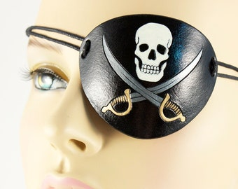 Skull and swords pirate eye patch Jolly Roger handmade leather Halloween masquerade costume