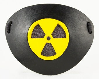 See-through eye patch Radioactive Hazard leather post-apocalyptic pirate costume masquerade cosplay