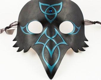 Celtic Raven mask w blue stone & iridescent teal Celtic knots, handmade leather masquerade mask, crow black bird, elegant Halloween costume