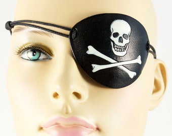 Skull and bones pirate eye patch Jolly Roger leather handmade Halloween masquerade costume