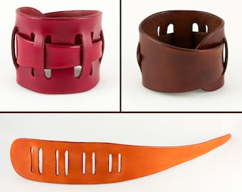 Leather wrist cuff bracelet, unisex, adjustable, 2 inches wide, handmade, red brown or tan