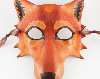 Autumn Wolf handmade leather mask brown dog masquerade larp furry Halloween costume