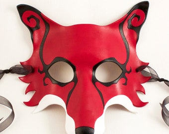 Spiral Fox handmade leather masquerade mask, Mardi Gras, LARP, or Halloween costume, red white and black