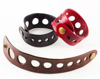 Leather bracelet with Industrial Graduated Holes, handmade, black red or brown, size 7 or 8