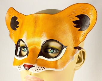 Lion Cub mask, handmade leather young lion wild cat mask for Halloween, Lion King theater, Mardi Gras, masquerade costume