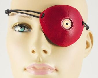 Creepy Yellow Eyeball pirate eye patch red leather masquerade costume Halloween larp handmade