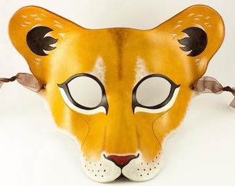 Lioness mask, handmade leather lion wild cat mask for Halloween, theater, Mardi Gras, masquerade costume, LARP