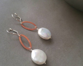 Carmen, sterling silver, copper, and pearl earrings