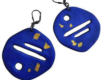 Artista, double-sided sterling silver, and enameled copper earrings