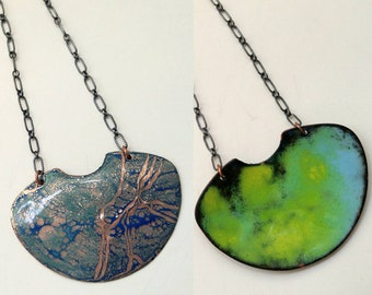 Blue, sterling silver, double-sided enamel necklace