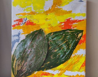Leaves, Mixed media on Stretched Canvas, 16x20
