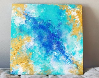 Moving Waters, Original Acrylic Painting on 12x12 Wood Panel