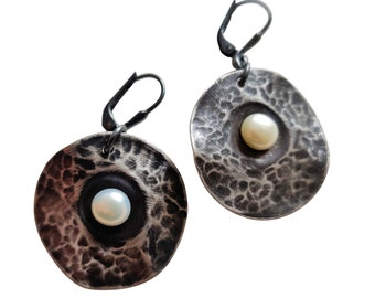 Unearthed VIII, Sterling Silver  and Pearl Earrings