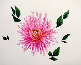Pink Dahlia, watercolor and ink Original painting, 9x12