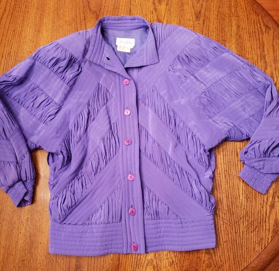 Blue violet 80s silk jacket