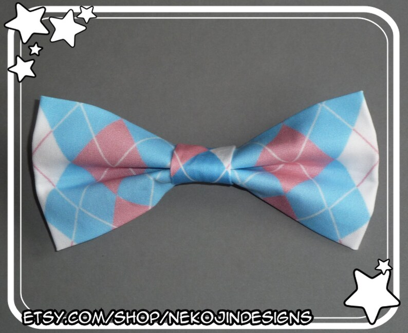 6fc10bfca8f5d Transgender Pride Bow Tie / Hair Clip - queer clothing accessory trans  handmade argyle pride flag clip on bowtie hairclip gender neutral