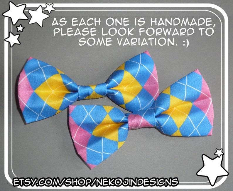 2562d128082f7 Pansexual Pride Bow Tie / Hair Clip - queer clothing accessory pan handmade  argyle pride flag clip on bowtie hairclip gender neutral