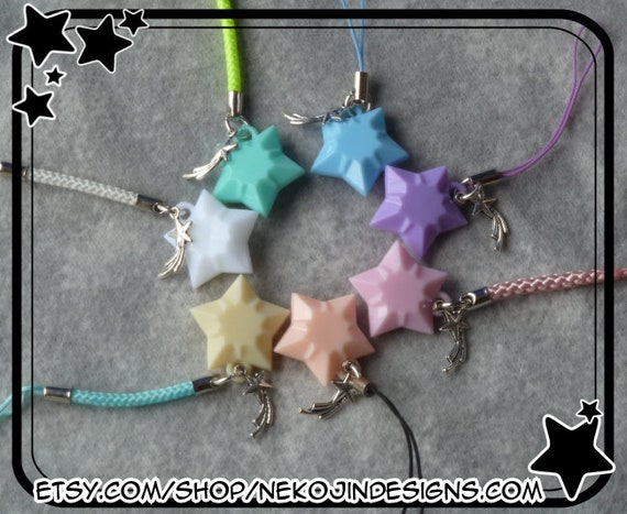 Shooting Star Cell Phone Charm   Make A Wish Cellphone Lanyard Lariat Silver Purple Green Blue Pink White Peach Celestial Kawaii Cute by Etsy