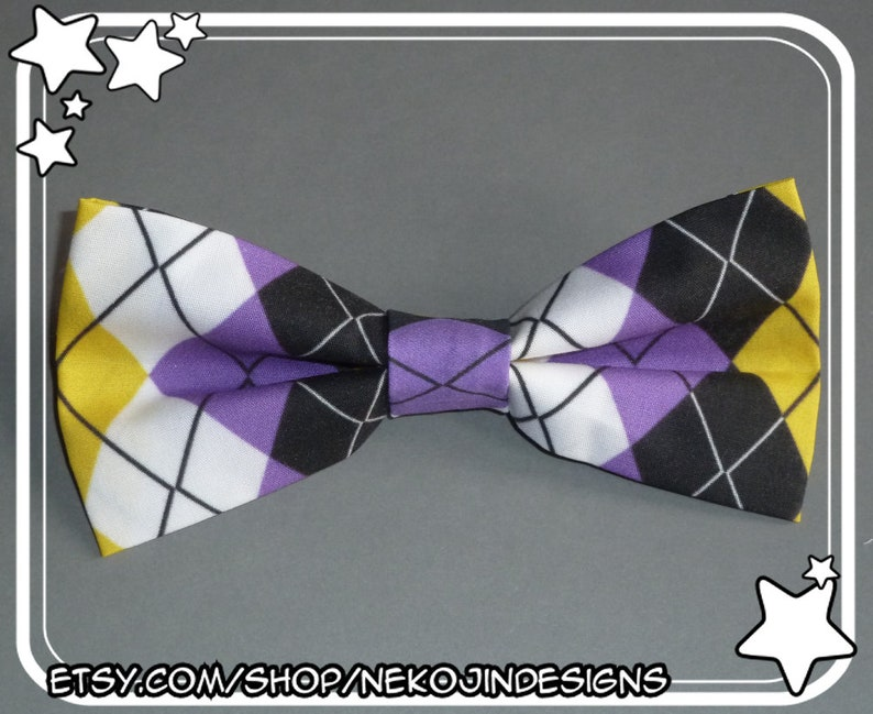 dde0a5a616f06 Nonbinary Pride Bow Tie / Hair Clip - queer clothing accessory enby non  binary handmade argyle pride clip on bowtie hairclip gender neutral